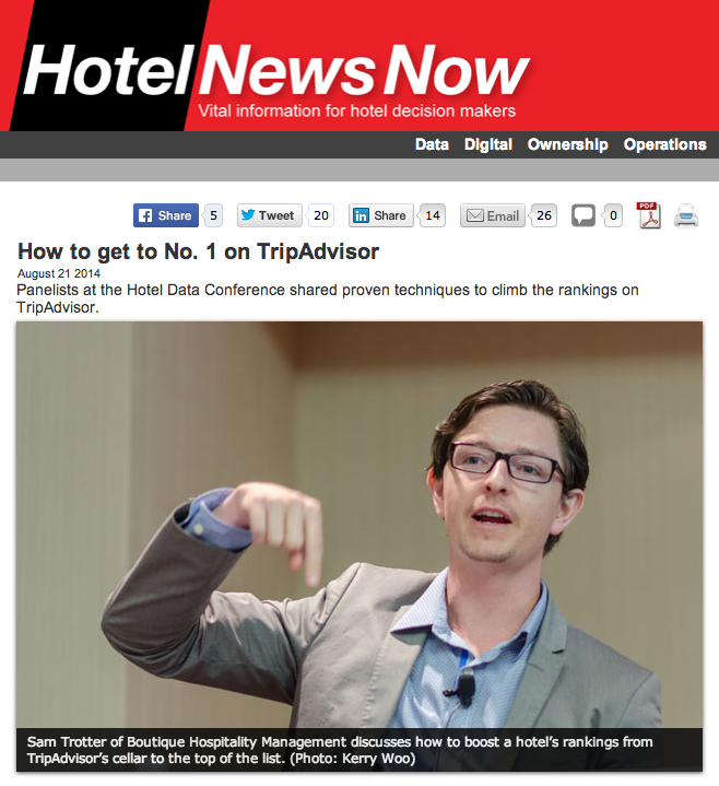 Sam Trotter featured on Hotel News Now – How to get to Number 1 on TripAdvisor